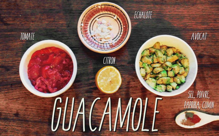 Ingrédients de la recette du Guacamole végane - Aujourd'hui Demain : avocat, tomate, citron, échalote, sel, poivre, paprika et cumin.