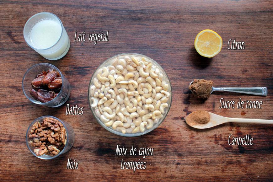 Ingrédients du cheesecake cru : noix de cajou, noix, dattes, lait végétal, citron, sucre de canne, cannelle