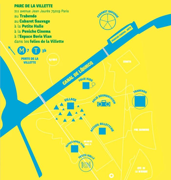 Plan du festival Smmmile au Parc de la Villette de Paris