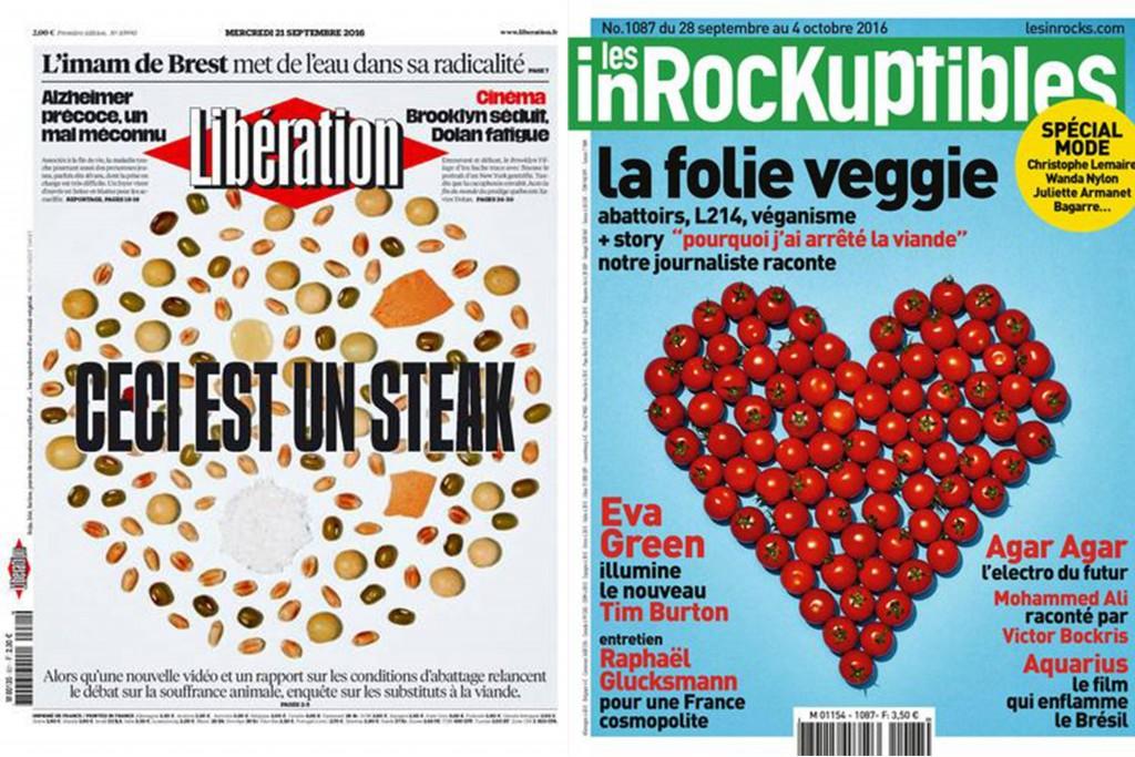 Revue de presse végane septembre 2016 : Unes de Libération et Les Inrockuptibles